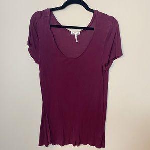 Burgundy short sleeve loose top